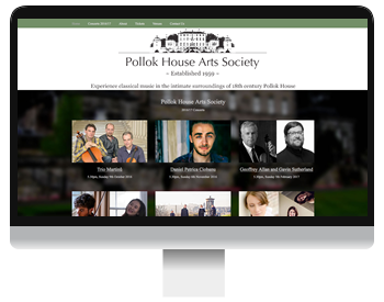 pollok house arts society screenshot responsive design